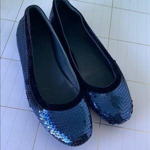 Gucci Blue Sequin Ballet Flats